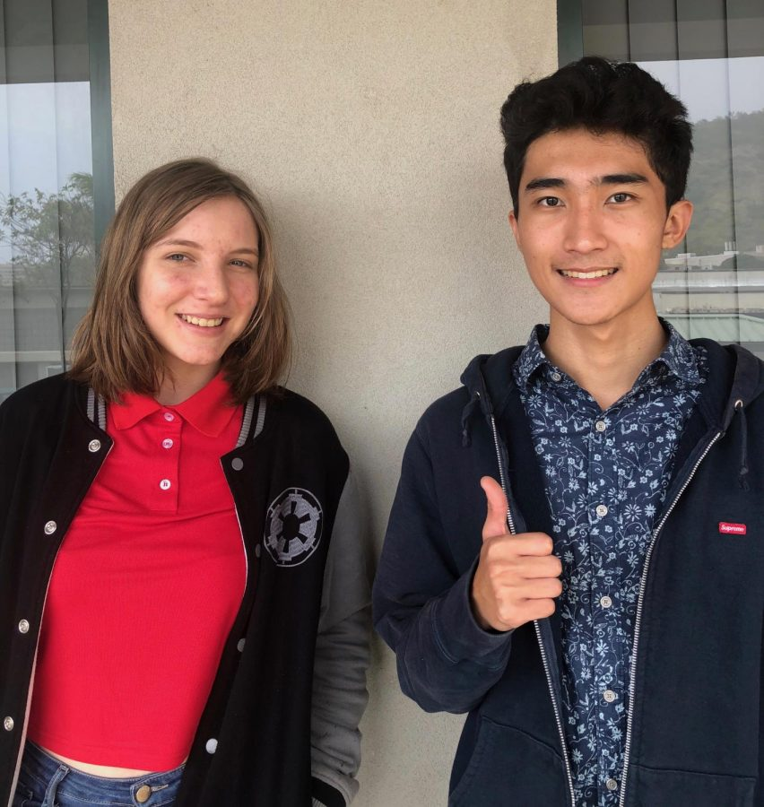 National+Merit+Scholarship+semifinalists+Jessie+Garbiel+and+Connor+Mukai+give+advice+for+preparing+for+the+SAT.