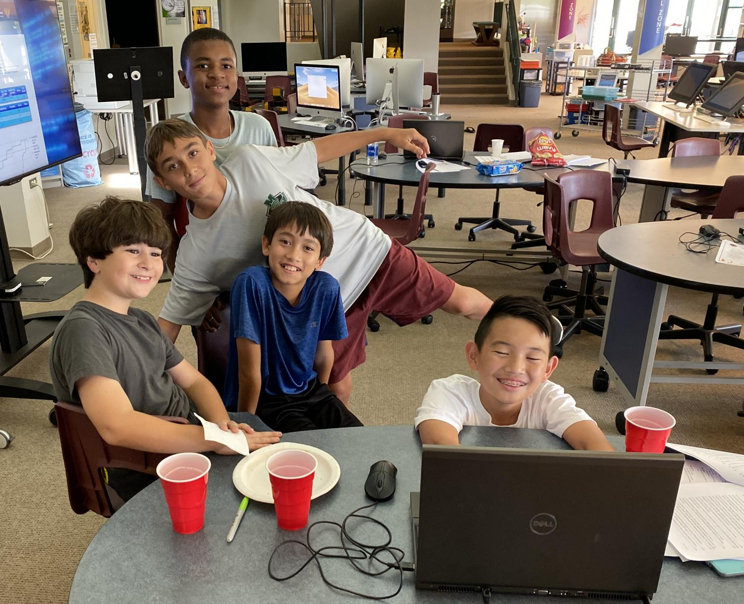 Middle schoolers get ready for theCyberPatriot competition.