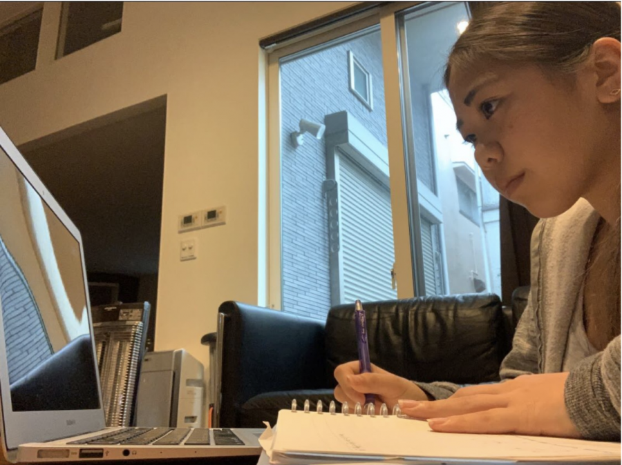 International student Maya Koike, grade 10,  studying from Tokyo, Japan. International students who have returned home have adjusted their sleep schedules to attend Mid-Pacific's virtual learning.
