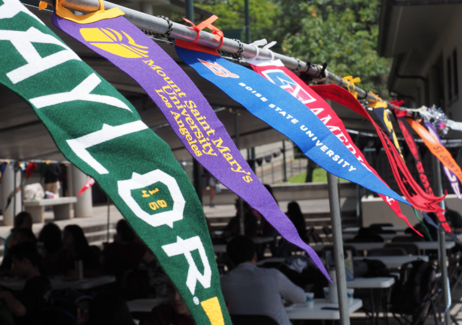 The+banners+of+different+colleges+blow+in+the+wind+in+unison+during+Mid-Pacific%27s+2019+college+signing+day.+Current+seniors+are+finding+that+the+college+application+process+is+changing+due+to+COVID-19.+%0A