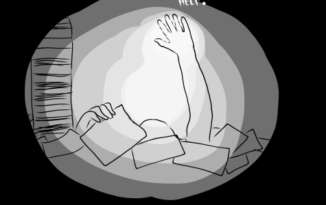 Drowning in Homework: poll results show that students' workload is too high. Illustrated by Sarae Miguel