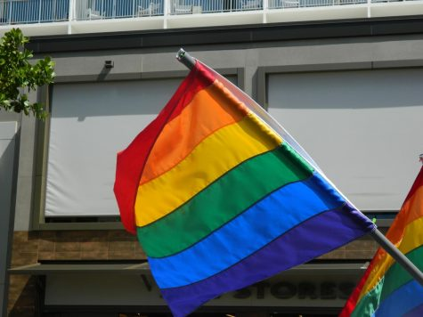 A pride flag is waved down the streets of Waikiki for Honolulu Pride as marchers in the parade show their camaraderie and brotherhood in celebrating themselves and those around them.