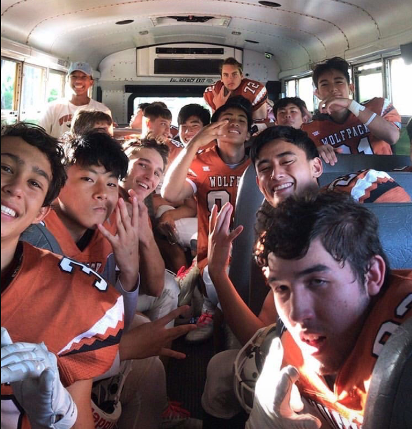 PAC-5 football players congregate during the 2019 season. Senior players created a petition to protest Mid-Pacific's decision that it would not participate this year due to COVID-19.