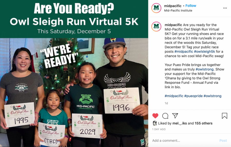 The Jinbo family showing their racing bibs for the class competition. This image was posted on Mid-Pacific's Instagram to support the Owl Sleigh Ride Virtual 5k.