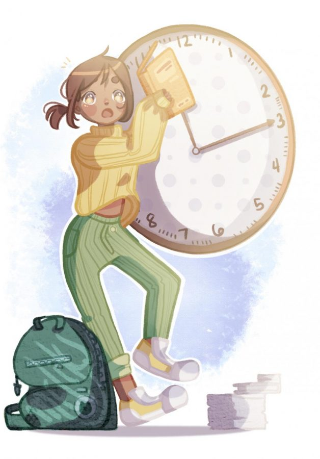 Illustration of a student juggling time.