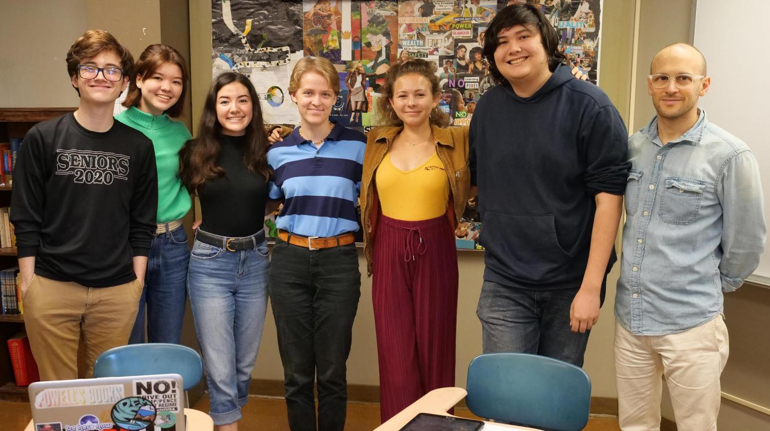 Ka Nalu Ola staff members pose for a picture together, starting on the left: Morgan Groves, Solana Isgar, Brooke Johnson, Fiona Sievert, Isabella Miki, Griffin Au, Ken Baldino. Photo contributed by Scot Allen, Associate Director of Communications for Mid-Pacific.